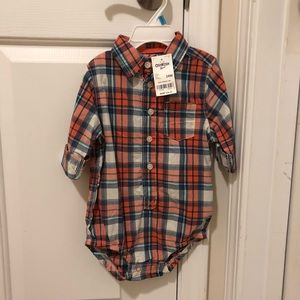 *NWT!*Oshkosh. Plaid, collared boys shirt 24mo.